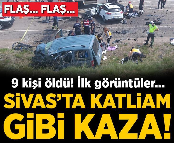 Sivas'ta katliam gibi kaza! 9 kişi öldü