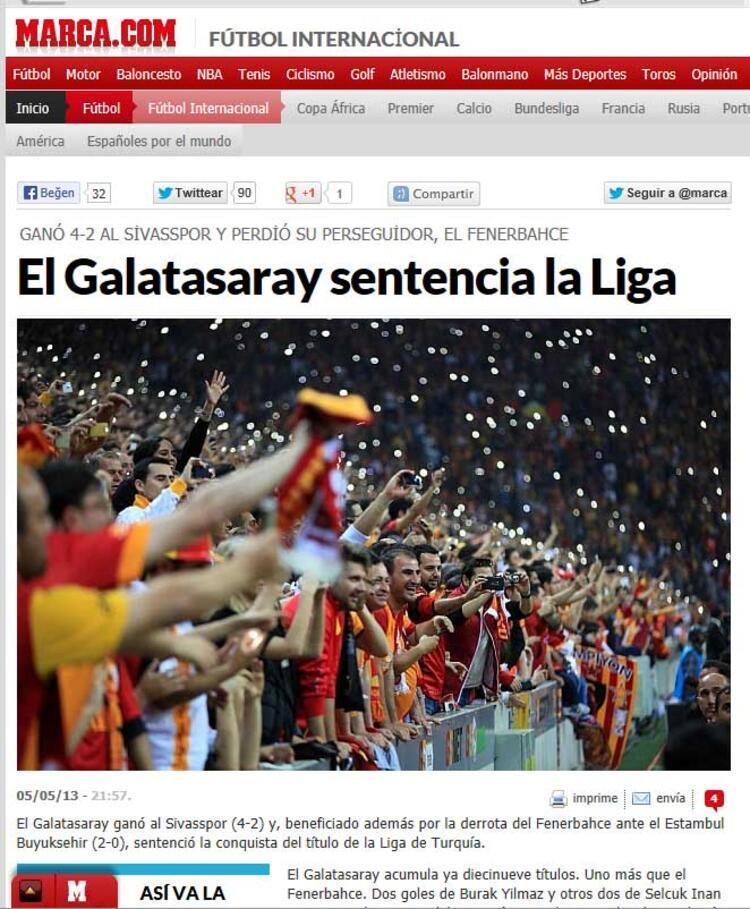 Galatasaray Süper Ligde 19. şampiyonluğunu ilan etmesi tün dünya basınında geniş yer buldu.İşte o sarı kırmızılı ekibin şampiyonluğunun Avrupada ve dünyadaki yankıları...MARCA (İSPANYA)