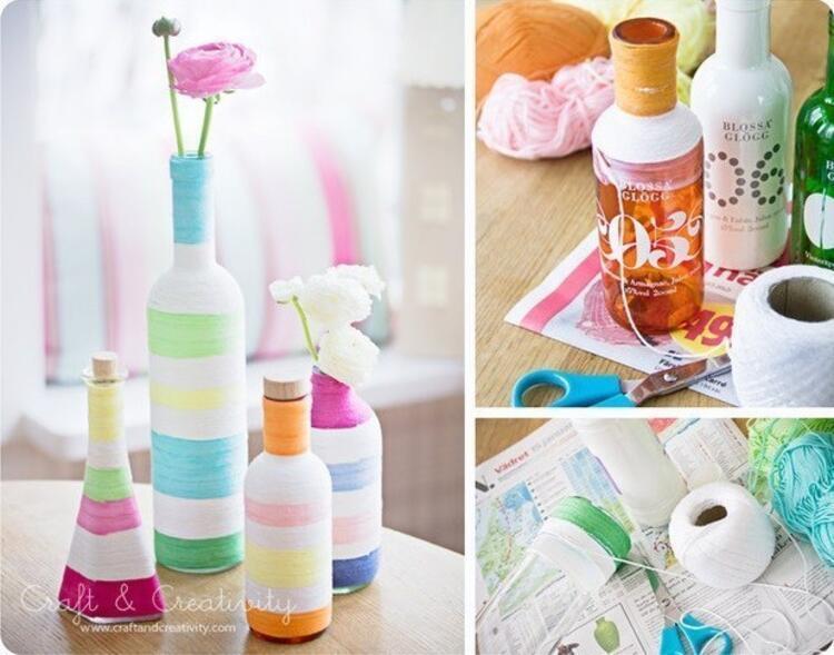 İşte sizlere evde yapabileceğiniz çeşit çeşit pratik süs eşyaları...İple vazo ve süs eşyası yapımı