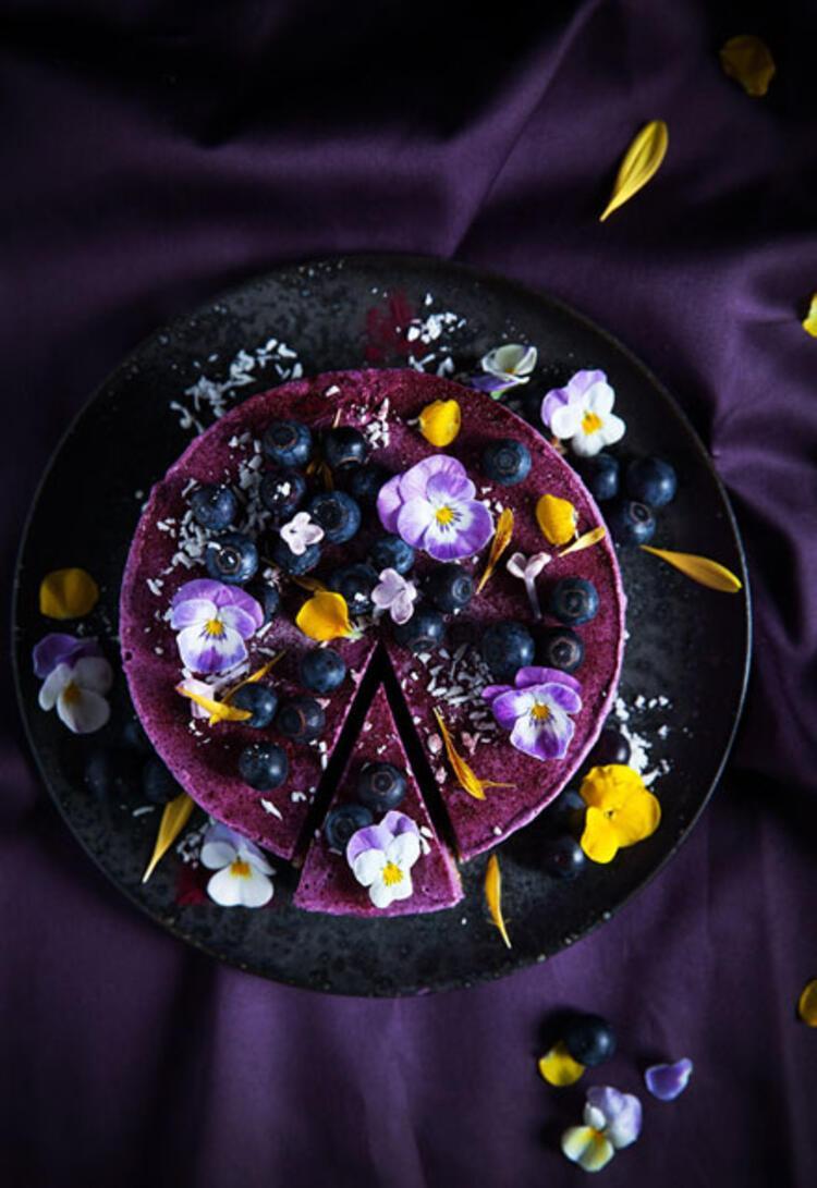 Yaban mersinli vegan cheesecake malzemeleri: