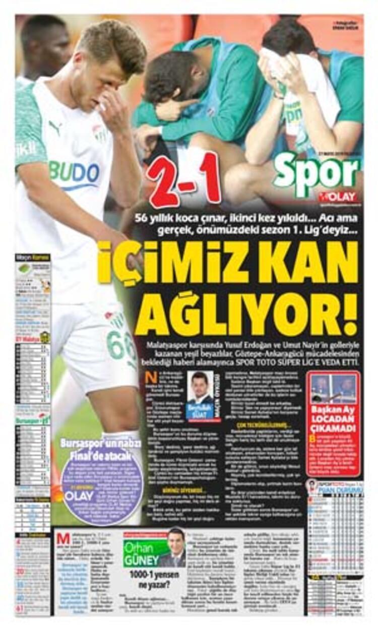 """Olay Gazetesi, ilk sayfadan """"Acı Veda"""""""