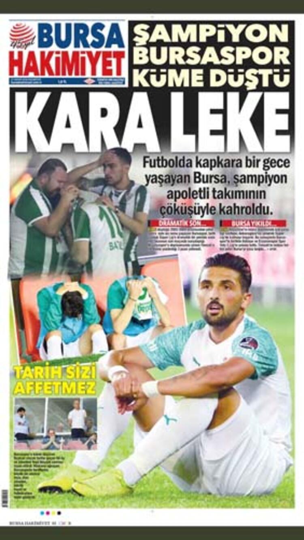 """Bursa Hakimiyet Gazetesi, ilk sayfasının tamamını Bursaspor'a ayırırken """"Kara Leke"""""""