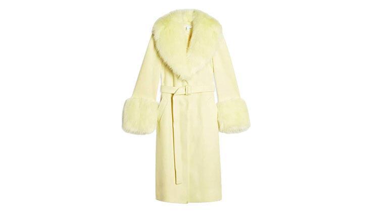 Topshop Yellow Faux Fur Trim Coat