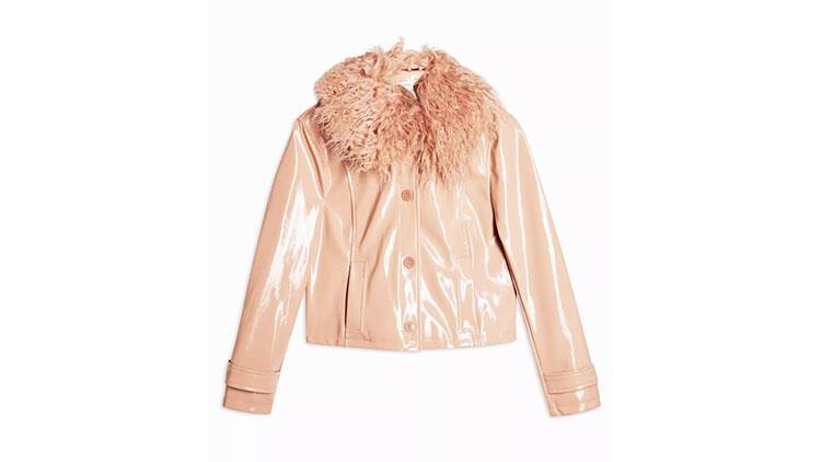 Topshop Peach Faux Fur Collar Crop PU Coat