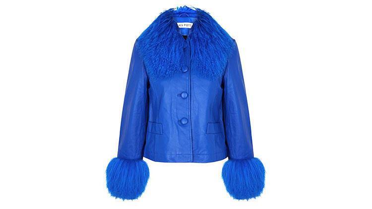 Saks Potts Dorthe Blue Shearling-Trimmed Leather Jacket