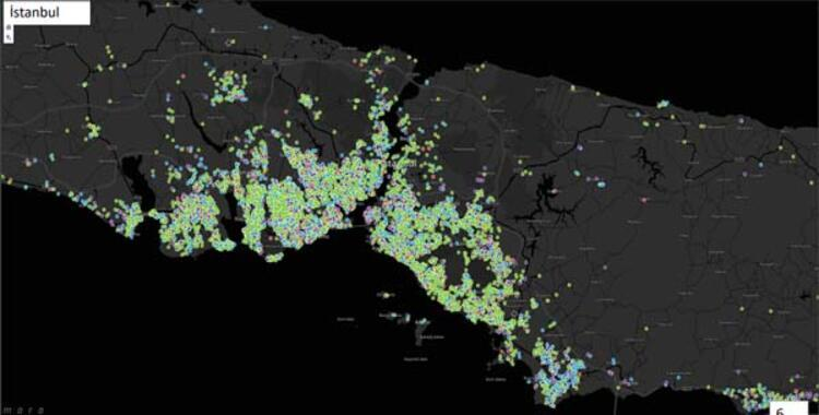 İstanbuldaki yoğunluk haritası