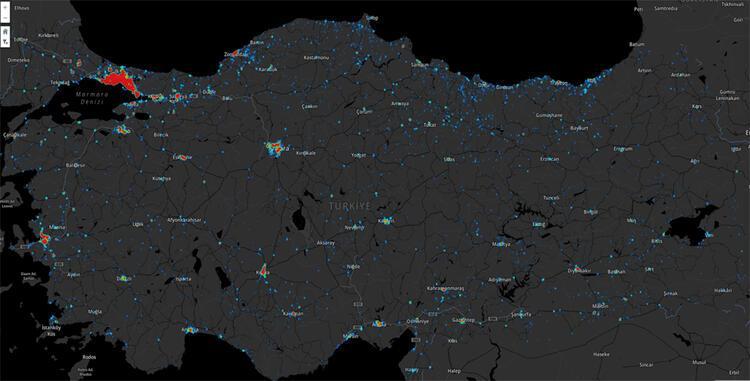 Türkiyedeki yoğunluk haritası