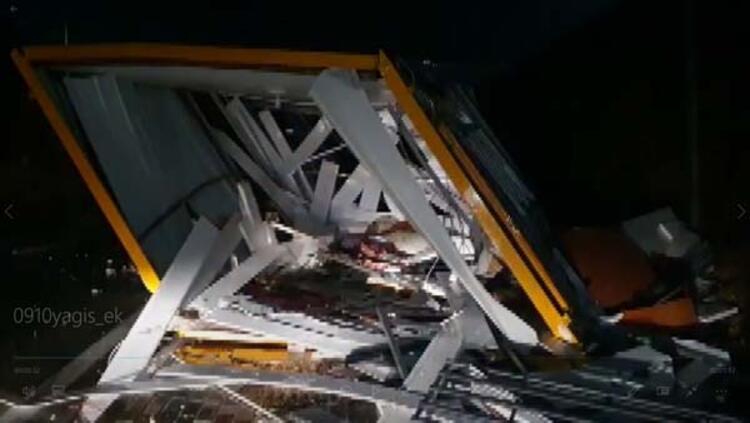 Fırtına işçilerin kaldığı konteyneri devirdi