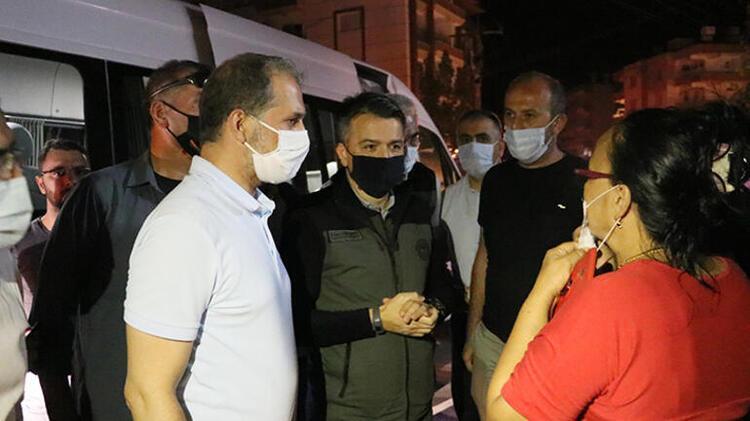 Yangından etkilenen vatandaşları ziyaret etti