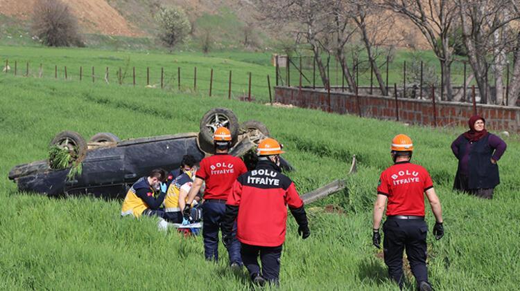 Bolu'da devrilen otomobilin sürücüsü yaralandı 1 – 60896a7555428224c02133b7