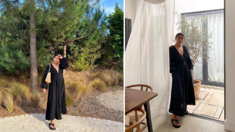 Long dress + flip-flops