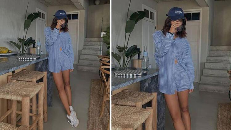Linen shorts-shirt set + sneakers