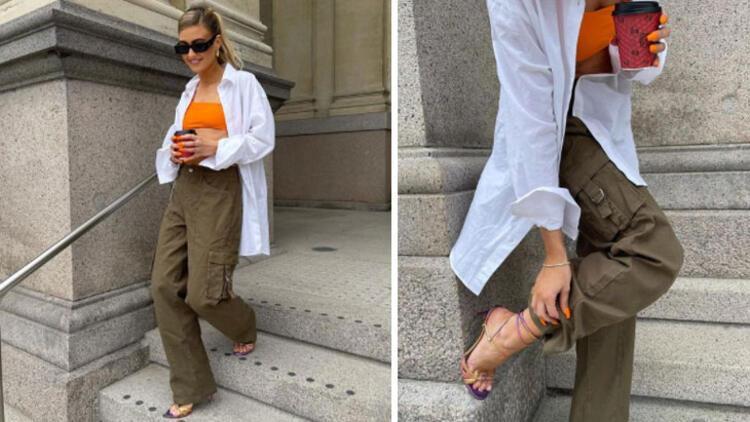 Cargo pants + bikini top + heeled sandals