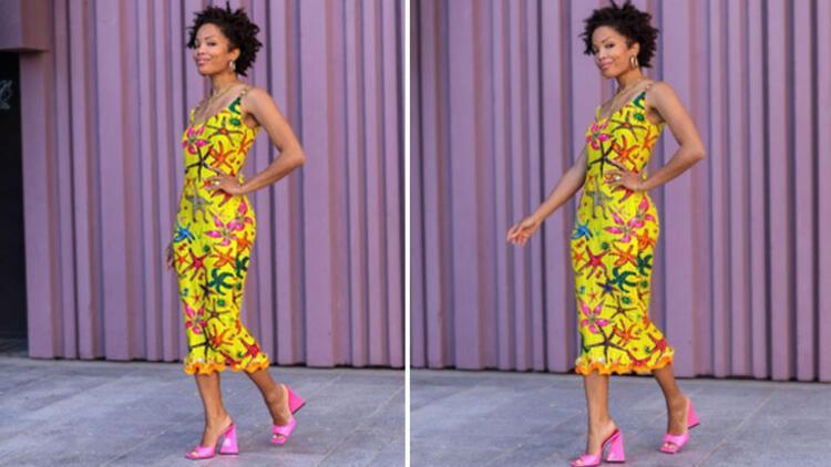 Midi dress + heeled slippers