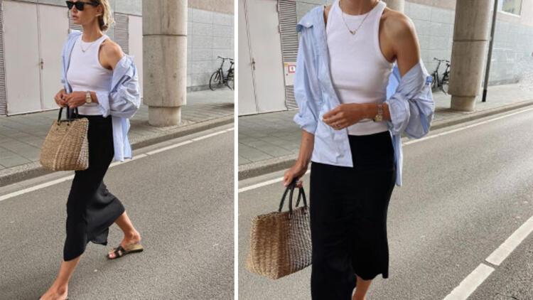 Midi skirt + singlet + flat slippers