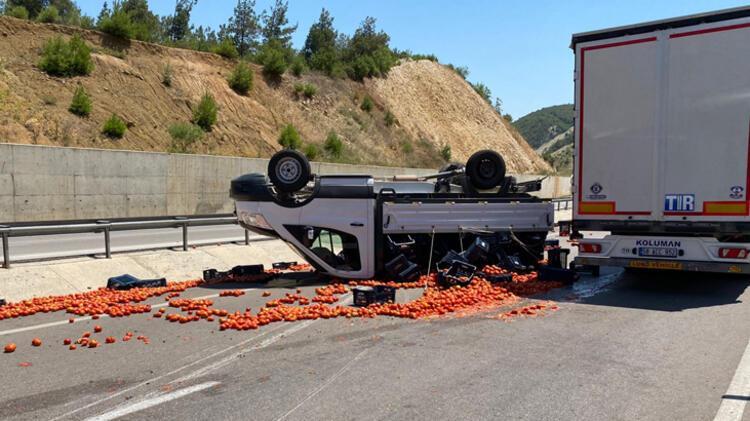 Kazada yola saçılan domatesleri polis topladı 2 – 60f2c4db86b244329c993d49