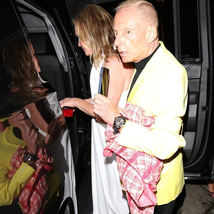 Kathy Hilton elbiseyle girdiği restorandan masa örtüsüne sarınarak çıktı