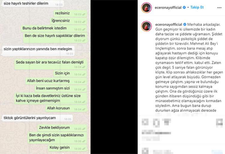 Ece Ronaydan taciz suçlaması Mehmet Ali Erbilden yanıt
