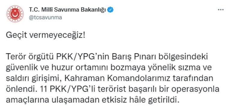 Son dakika... Barış Pınarı bölgesine saldırı girişimi MSBden açıklama