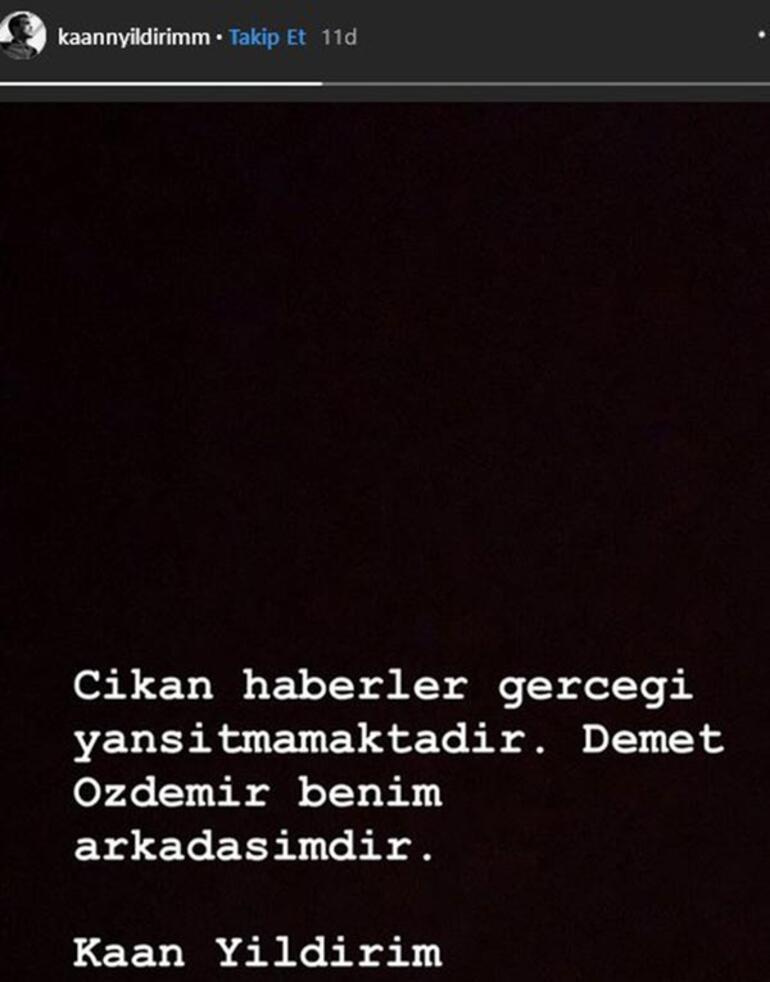 Demet Özdemir ve Kaan Yıldırımdan flaş açıklama: Arkadaşız