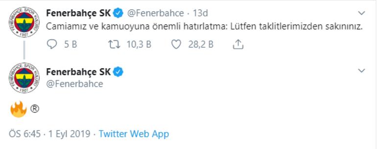 Fenerbahçeden olay paylaşım Taklitlerimizden sakınınız