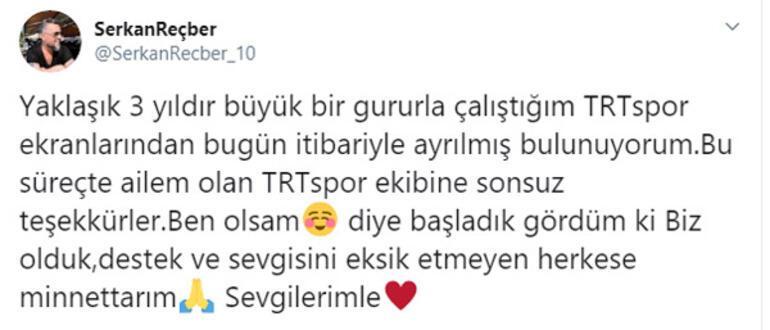 Serkan Reçber, TRT Spordan ayrıldı