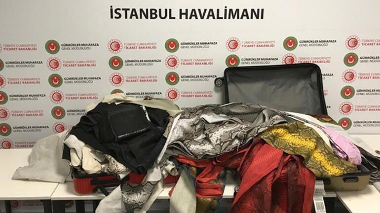 İstanbul Havalimanı'nda 355 metre işlenmiş yılan derisi yakalandı