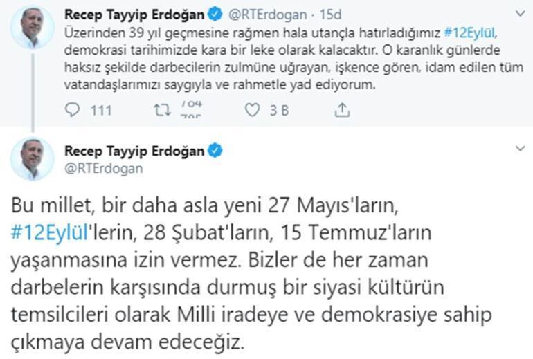 Cumhurbaşkanı Erdoğandan 12 Eylül mesajı: Bu millet, bir daha asla izin vermez