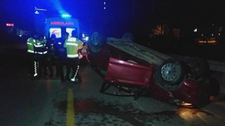 Şoka giren sürücü, takla atan araçtan çıkmadı