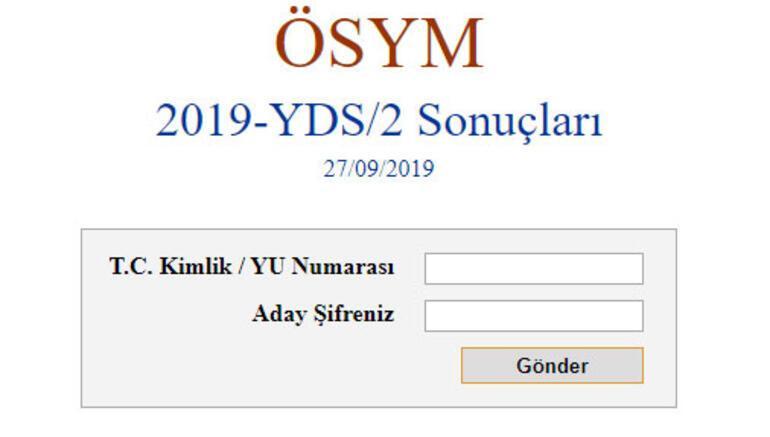 YDS sınav sonuçları açıklandı YDS/2 sınav sonuçları sorgulama