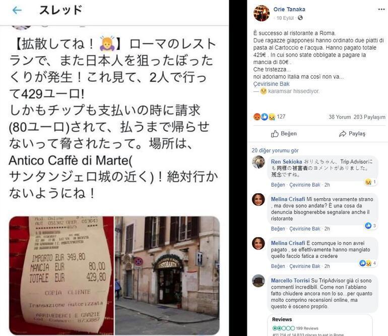 Romada turistlere iki tabak makarna ve su için 2700 TL hesap