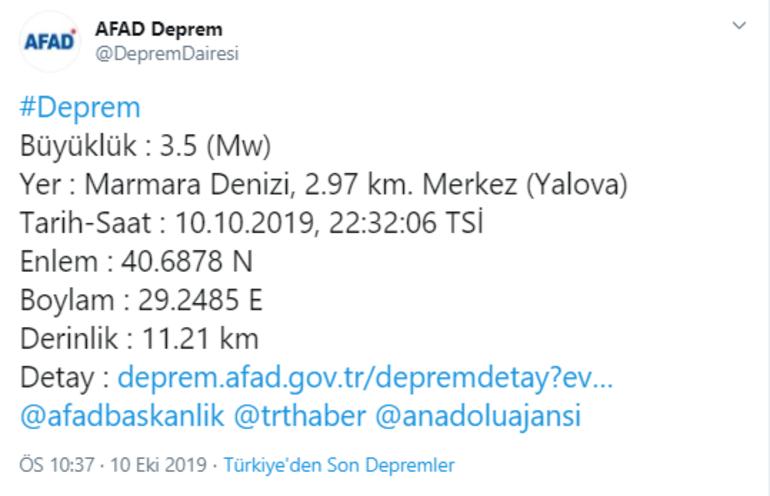 Son dakika Marmarada korkutan deprem