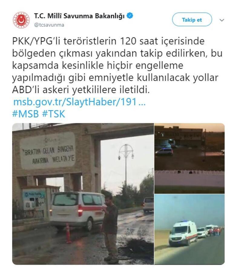 Milli Savunma Bakanlığı: Terör örgütünün bölgeden çıkması yakından takip ediliyor