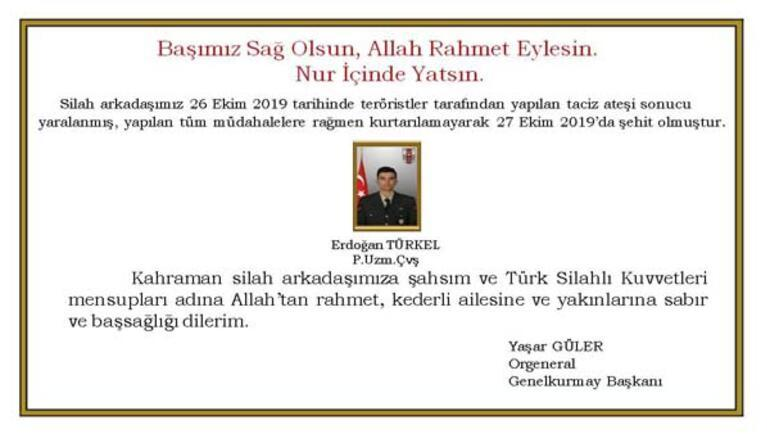 Genelkurmay Başkanı Gülerden başsağlığı mesajı