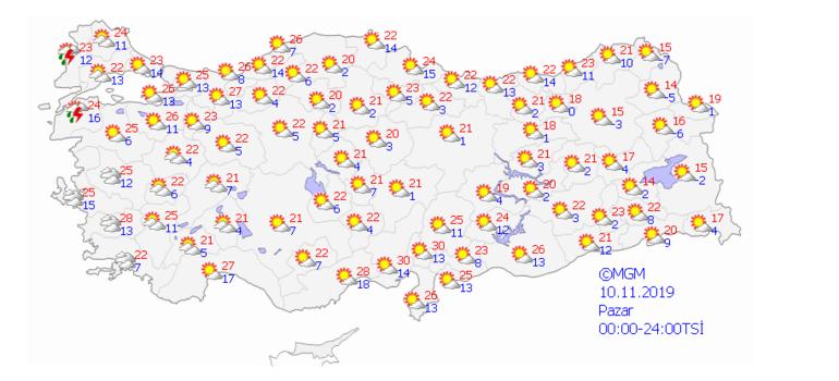Yarın hava nasıl olacak Hafta sonu (9-10 Kasım) hava durumu...