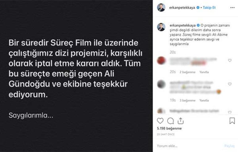 Erkan Petekkayanın dizisi iptal oldu