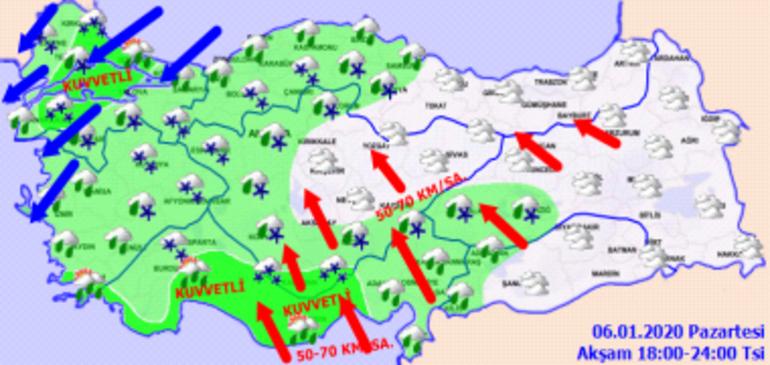 6 Ocak Hava durumu | Meteorolojiden kuvvetli yağış, kar ve rüzgar uyarısı