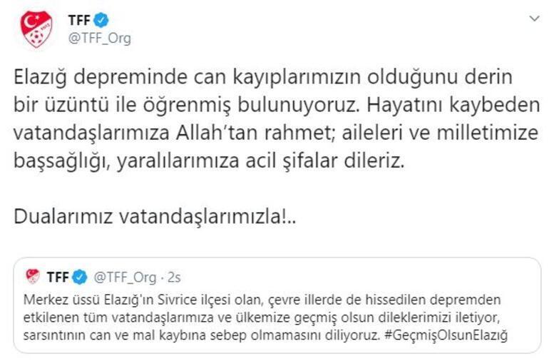 Mert Hakan Yandaş: Sivas'ta depremi şiddetli hissettik   Kulüplerden deprem mesajı