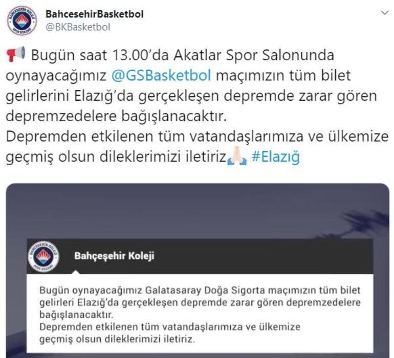 Bahçeşehir Koleji, Galatasaray maçı gelirlerini Elazığdaki deprem için bağışlayacak