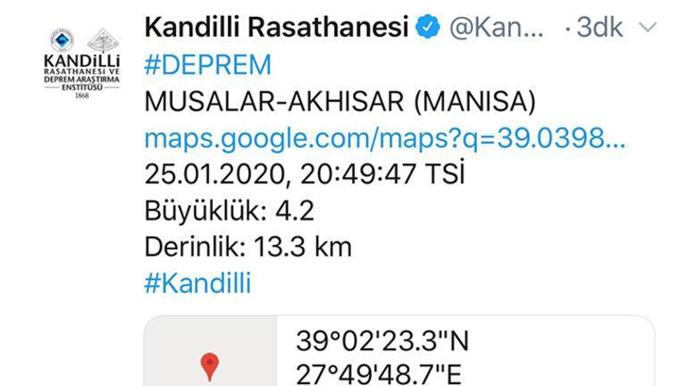 Son dakika... Manisada peş peşe depremler Büyüklüğü...