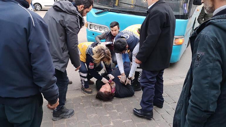 Otobüsün kadına çarpma anı kameralarda
