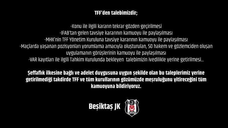 Beşiktaştan sert açıklama TFF...