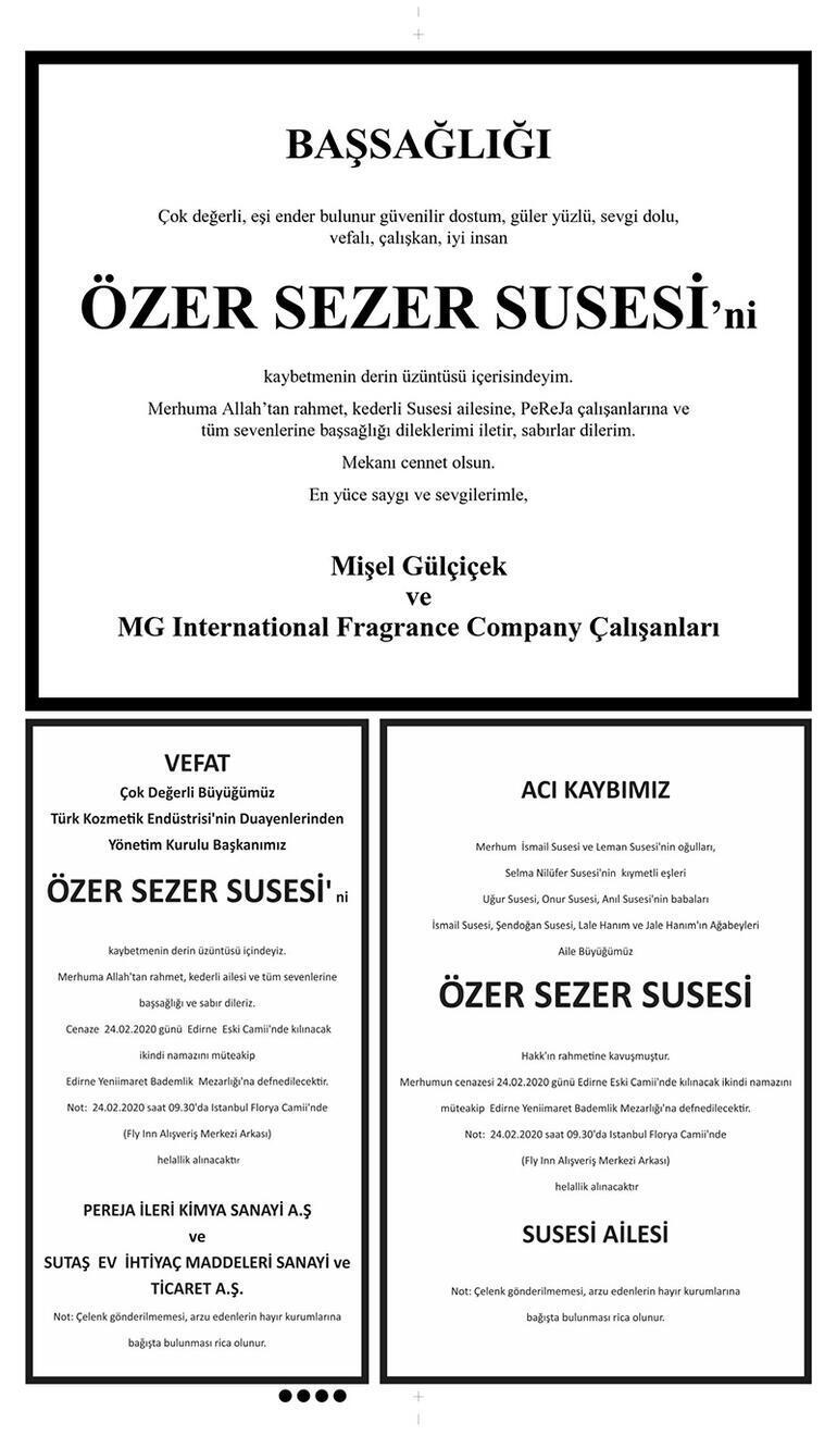 Last minute ... Famous business person Ozer Sezer Susesi lost his life