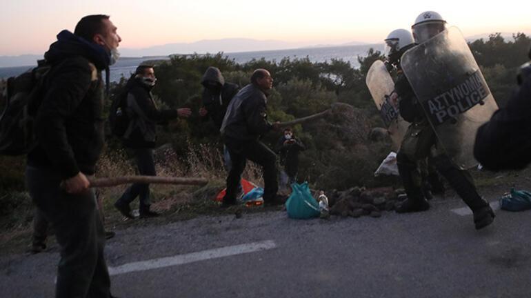 Kapalı mülteci kampı kararına itiraz eden vatandaşlar polisle çatıştı