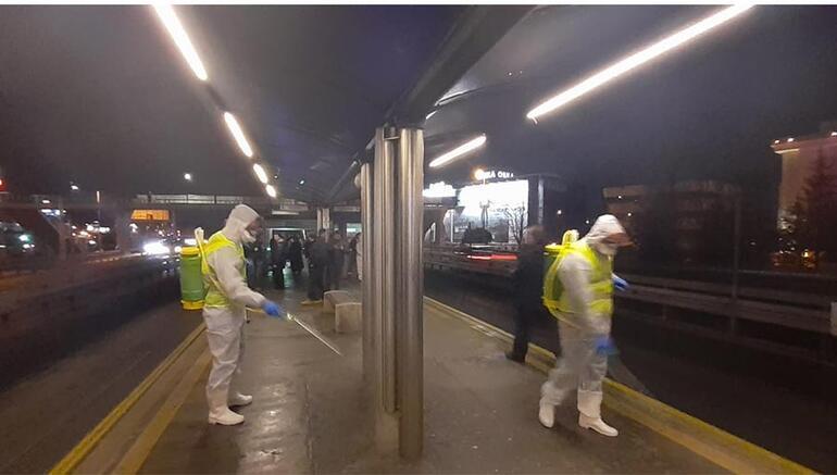 Metrobüs ve duraklarda koronavirüs önlemi