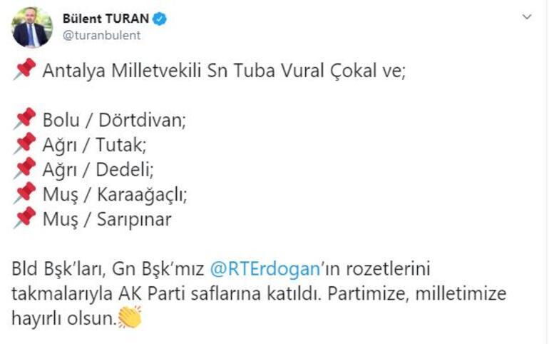 Son dakika İYİ Partiden istifa eden Tuba Vural Çokal ile 5 belediye başkanı AK Partiye geçti