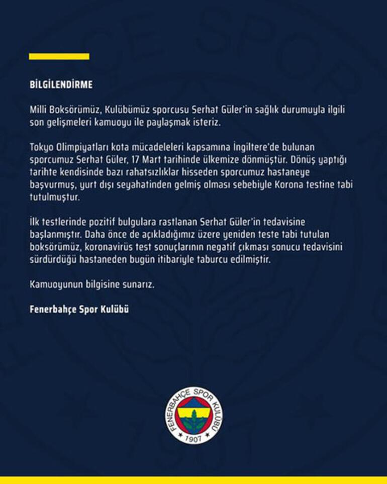 Son dakika   Fenerbahçe duyurdu  Hastaneden taburcu oldu...