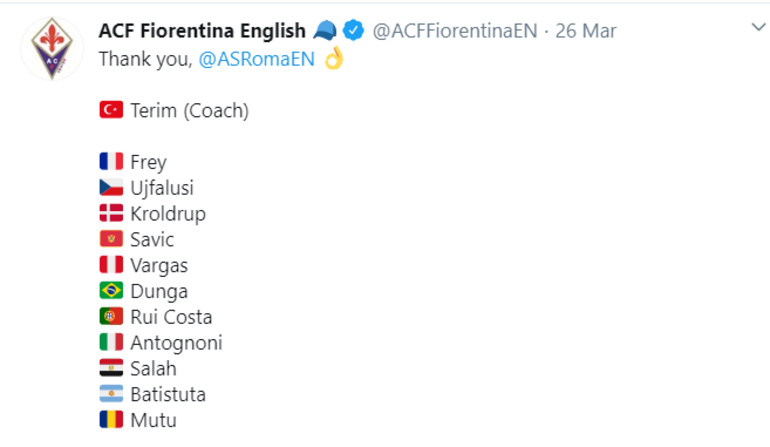 Fiorentinadan Fatih Terim paylaşımı