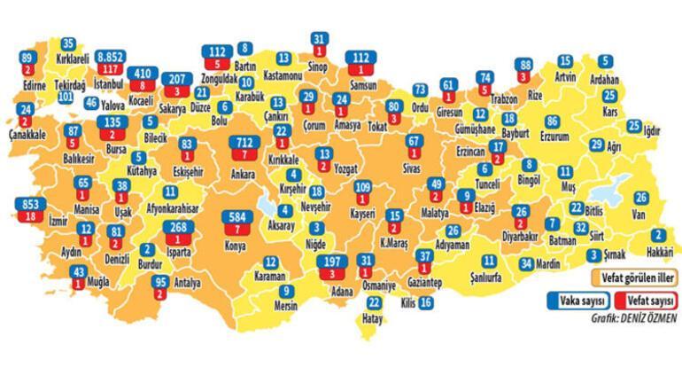 İstanbulda corona virüsten kaç kişi öldü, vaka sayısı kaç Corona virüs Türkiye haritası
