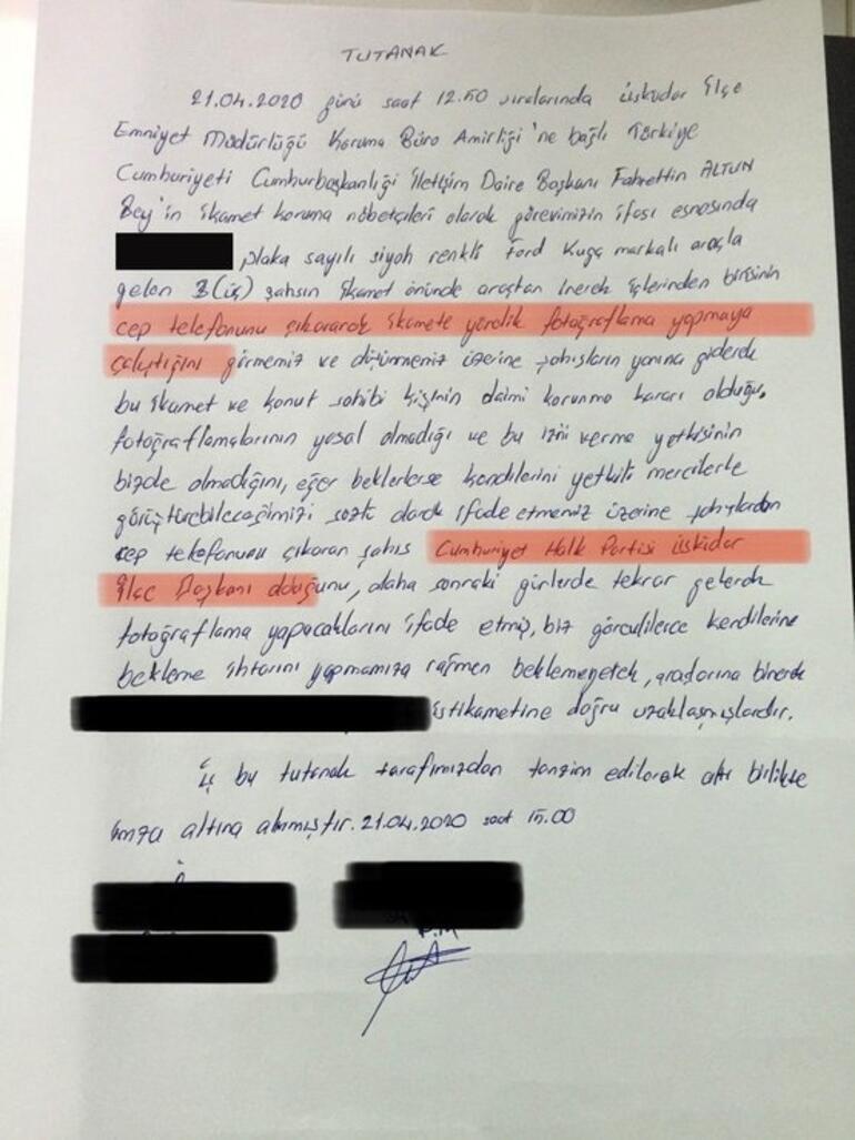 CHP Üsküdar İlçe Başkanı Suat Özçağdaş, Fahrettin Altunun evinin fotoğraflarını çekerken yakalandı
